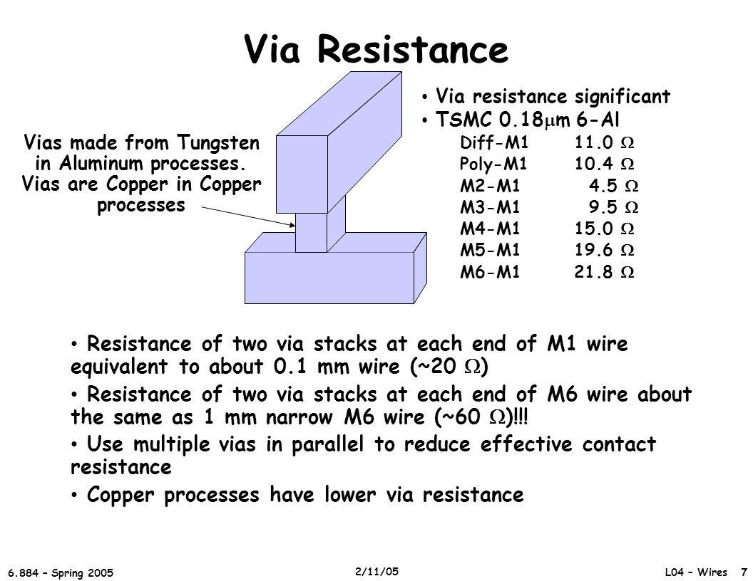 Via Resistance Via resistance significant. TSMC 0.18mm 6-Al. Diff-M1 11.0  Poly-M1 10.4  M2-M1 4.5 
