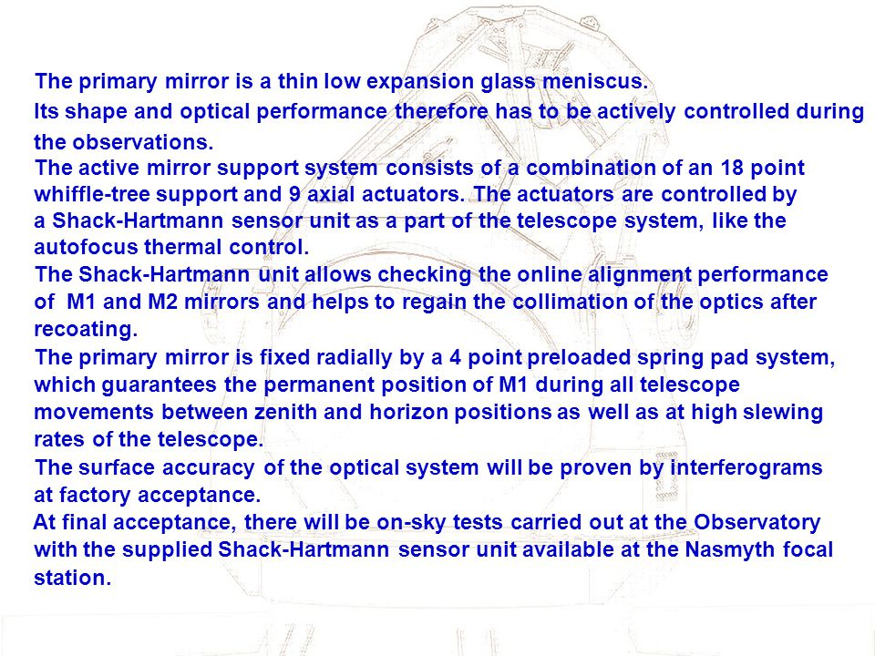 The primary mirror is a thin low expansion glass meniscus.