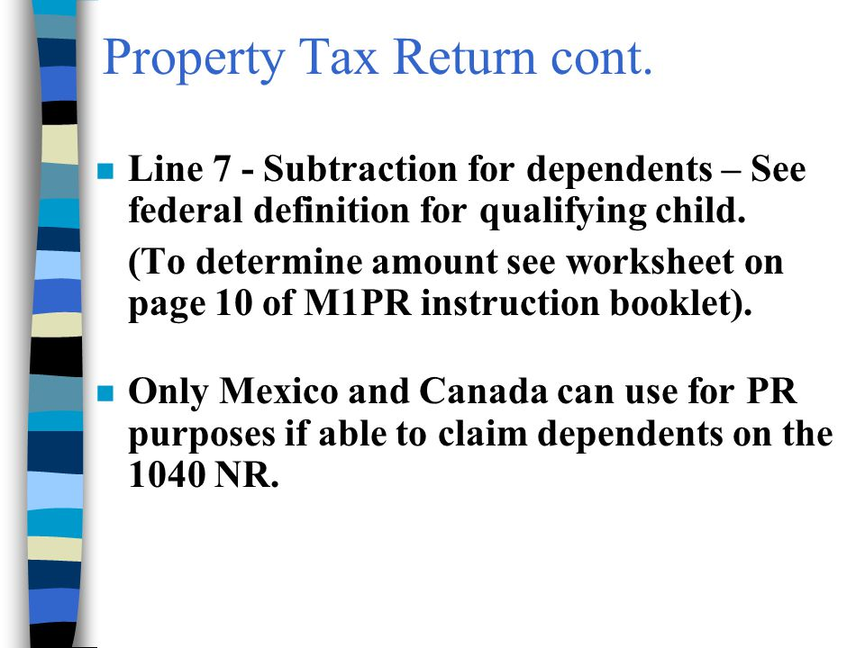 Property Tax Return cont.