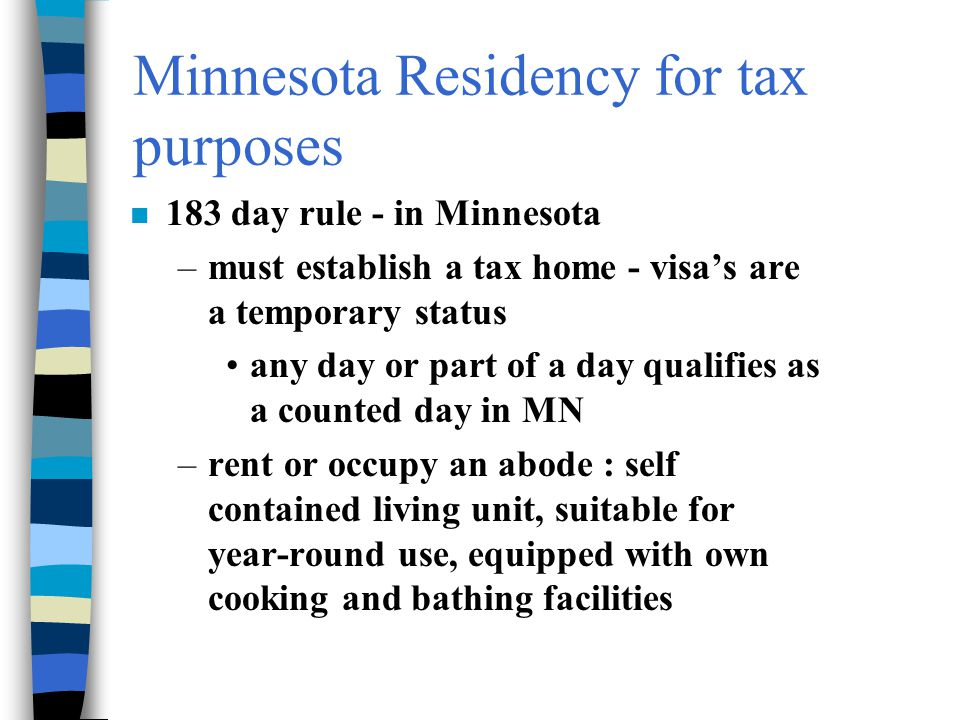 Minnesota Residency for tax purposes