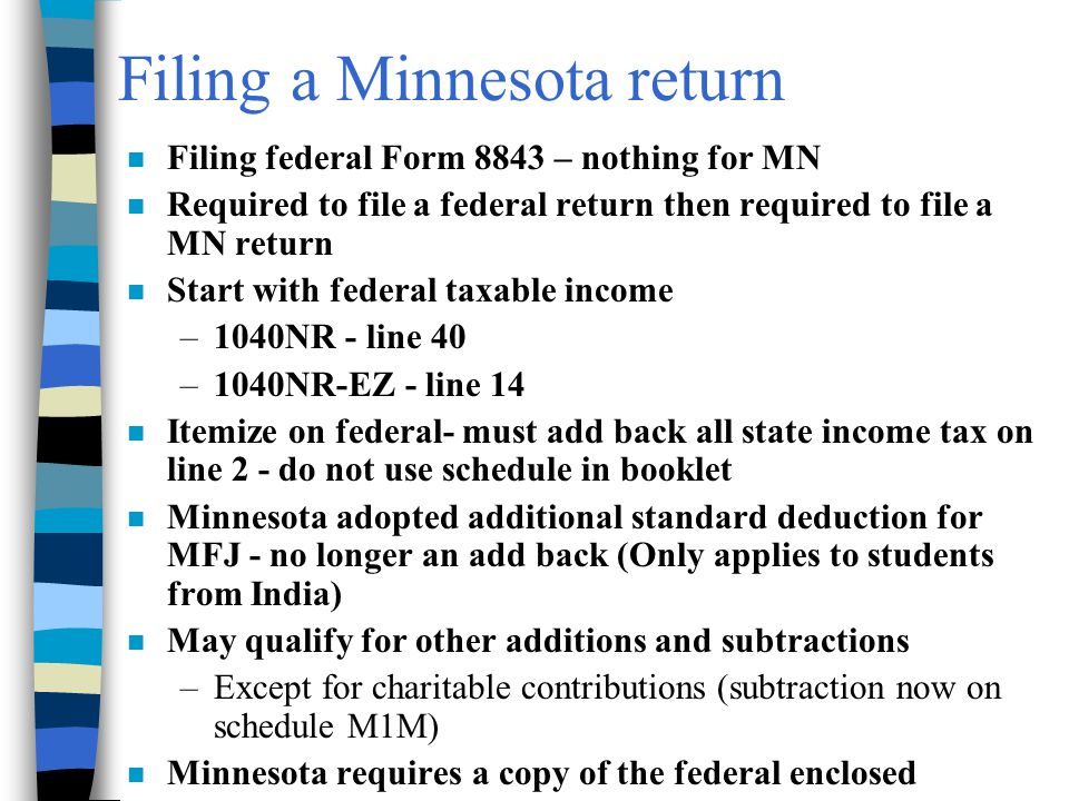 Filing a Minnesota return