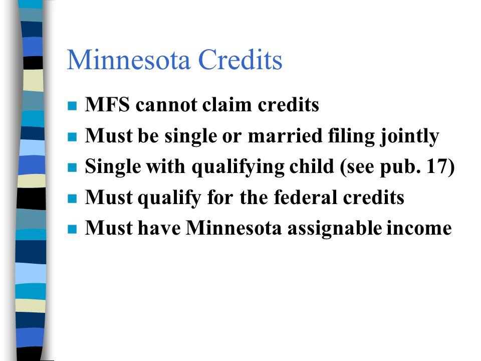 Minnesota Credits MFS cannot claim credits
