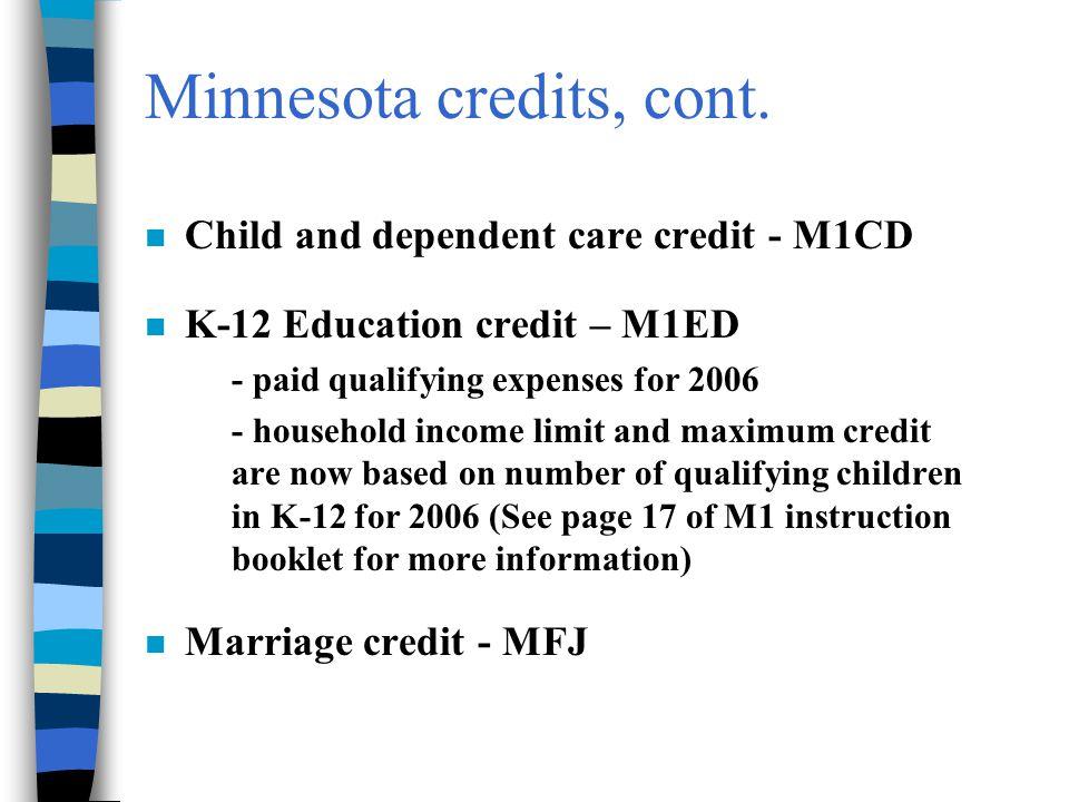Minnesota credits, cont.