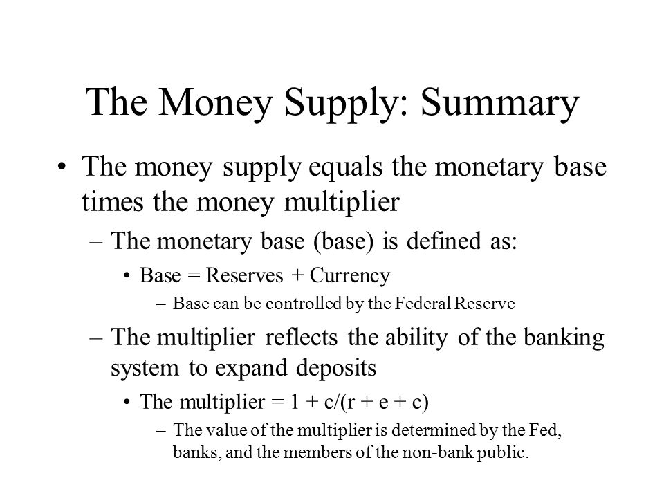 The Money Supply: Summary