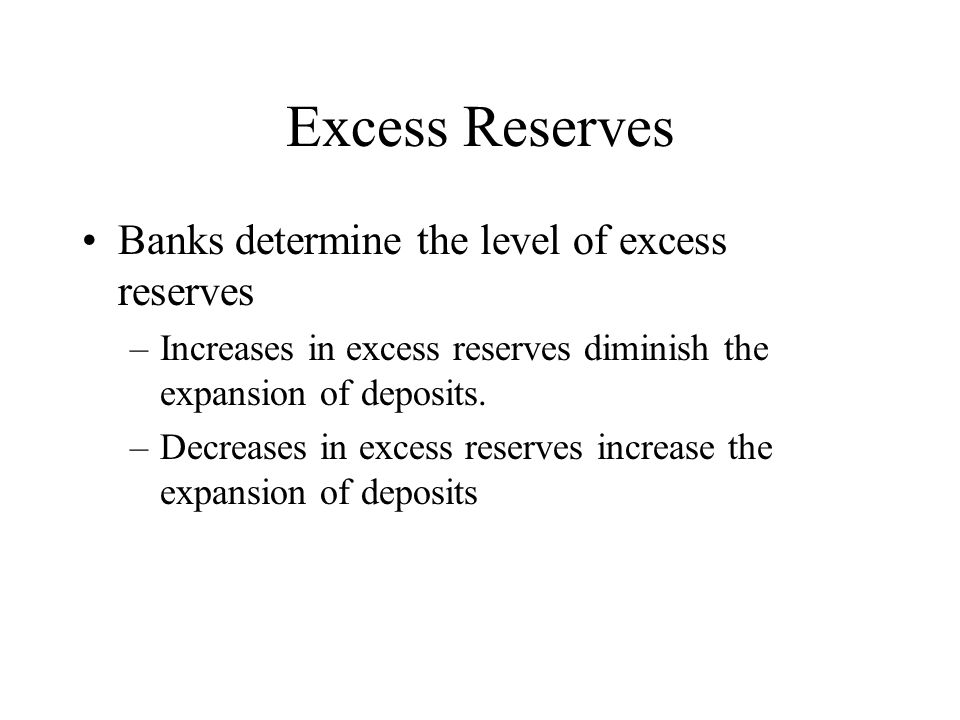 Excess Reserves Banks determine the level of excess reserves