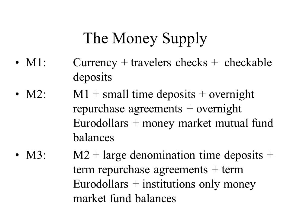 The Money Supply M1: Currency + travelers checks + checkable deposits