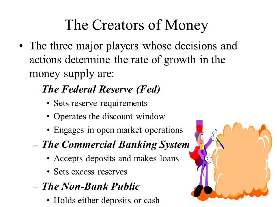 The Creators of Money The three major players whose decisions and actions determine the rate of growth in the money supply are:
