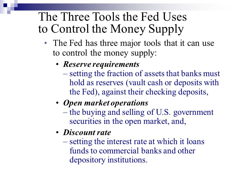 The Three Tools the Fed Uses to Control the Money Supply