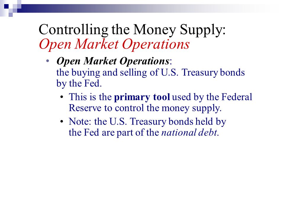 Controlling the Money Supply: Open Market Operations