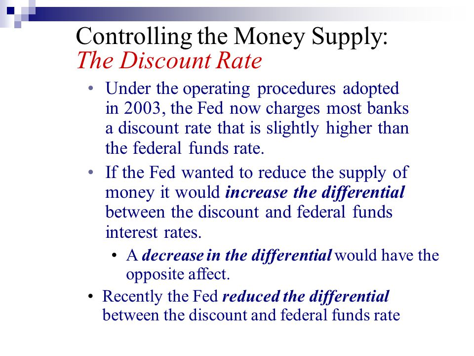 Controlling the Money Supply: The Discount Rate