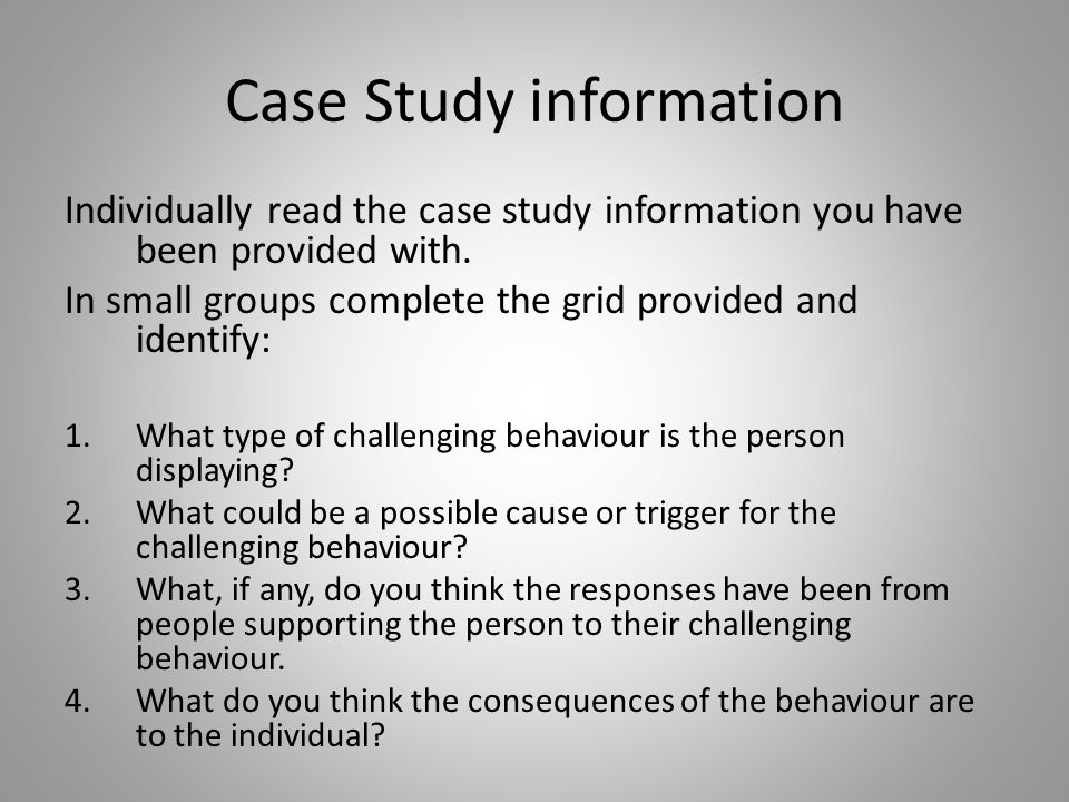 Case Study information