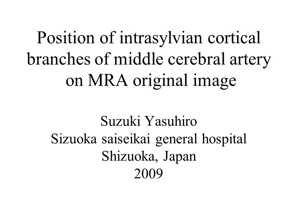 Position of intrasylvian cortical branches of middle cerebral artery on MRA original image Suzuki Yasuhiro Sizuoka saiseikai general hospital Shizuoka, Japan 2009