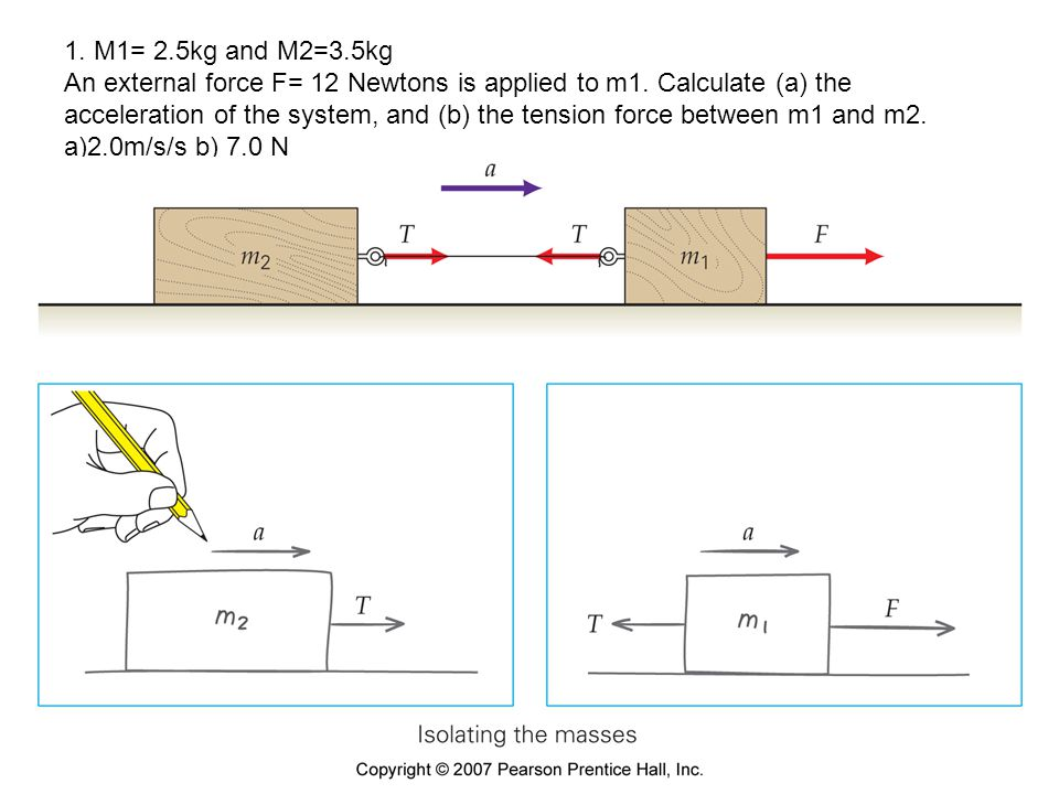 1. M1= 2.5kg and M2=3.5kg An external force F= 12 Newtons is applied to m1. Calculate (a) the acceleration of the system, and (b) the tension force between m1 and m2. a)2.0m/s/s b) 7.0 N
