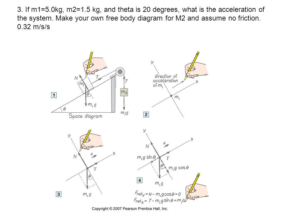 3. If m1=5.0kg, m2=1.5 kg, and theta is 20 degrees, what is the acceleration of the system.