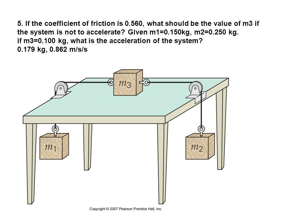 5. If the coefficient of friction is 0