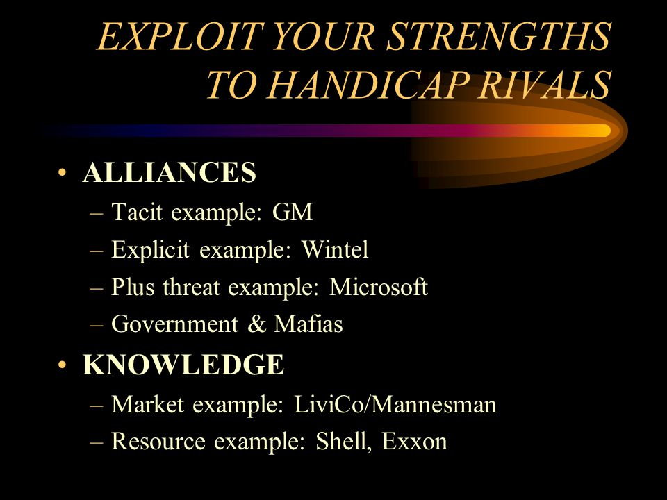 EXPLOIT YOUR STRENGTHS TO HANDICAP RIVALS
