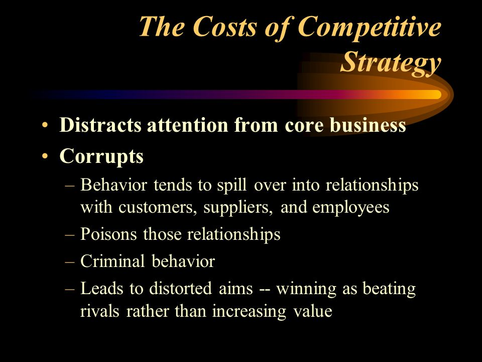 The Costs of Competitive Strategy