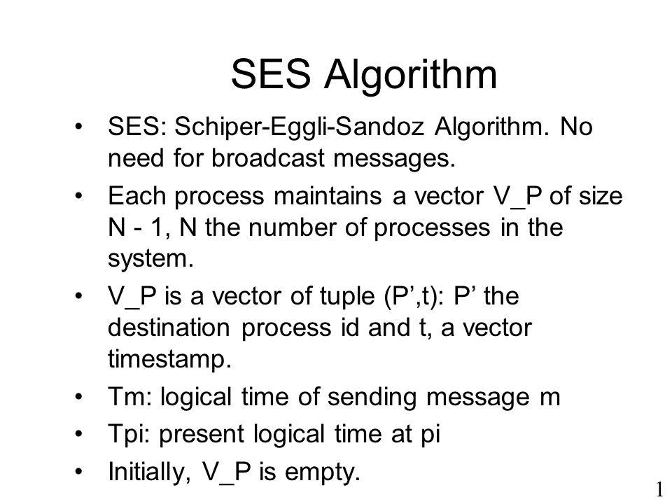 SES Algorithm SES: Schiper-Eggli-Sandoz Algorithm. No need for broadcast messages.
