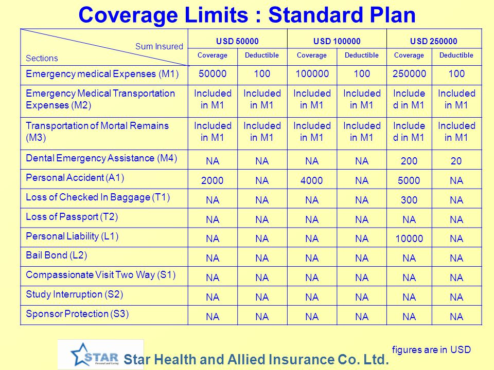 Coverage Limits : Standard Plan