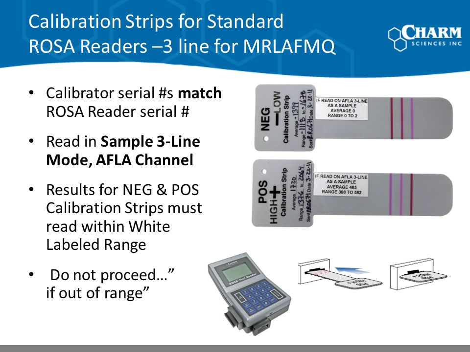 Calibration Strips for Standard ROSA Readers –3 line for MRLAFMQ