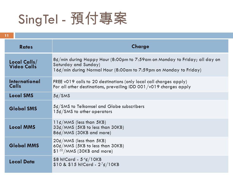 SingTel - 預付專案 Charge Rates Local Calls/ Video Calls