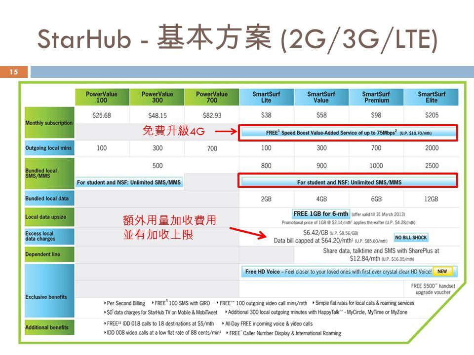 StarHub - 基本方案 (2G/3G/LTE)