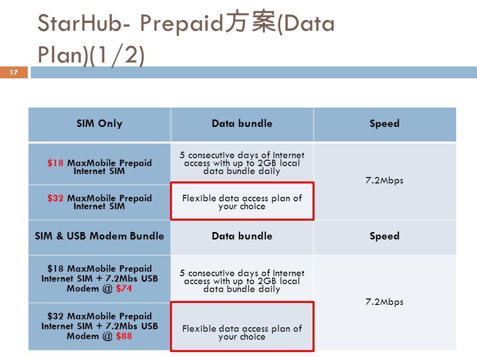StarHub- Prepaid方案(Data Plan)(1/2)