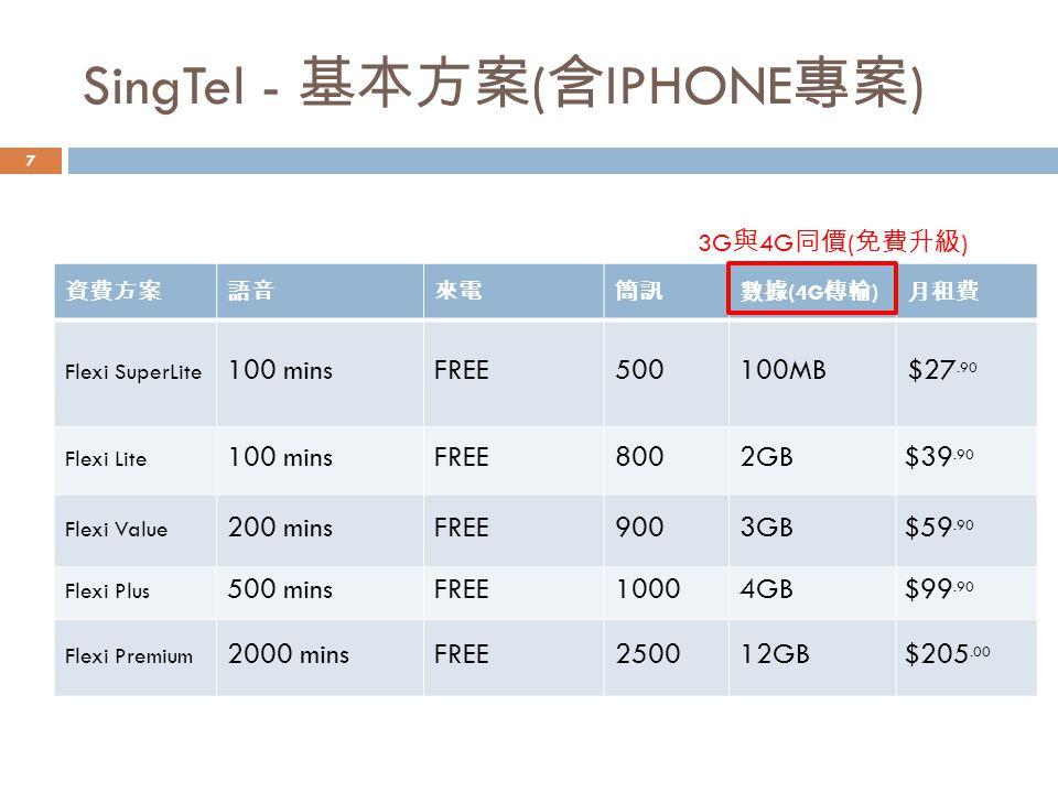 SingTel - 基本方案(含IPHONE專案)