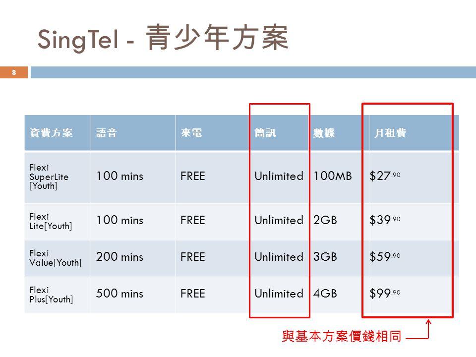 SingTel - 青少年方案 100 mins FREE Unlimited 100MB $27.90 2GB $39.90