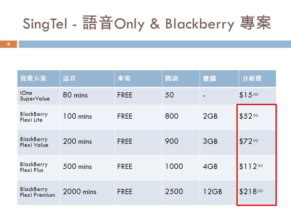 SingTel - 語音Only & Blackberry 專案
