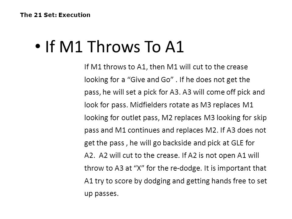 The 21 Set: Execution If M1 Throws To A1.