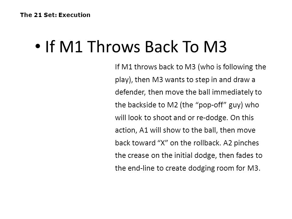 The 21 Set: Execution If M1 Throws Back To M3.