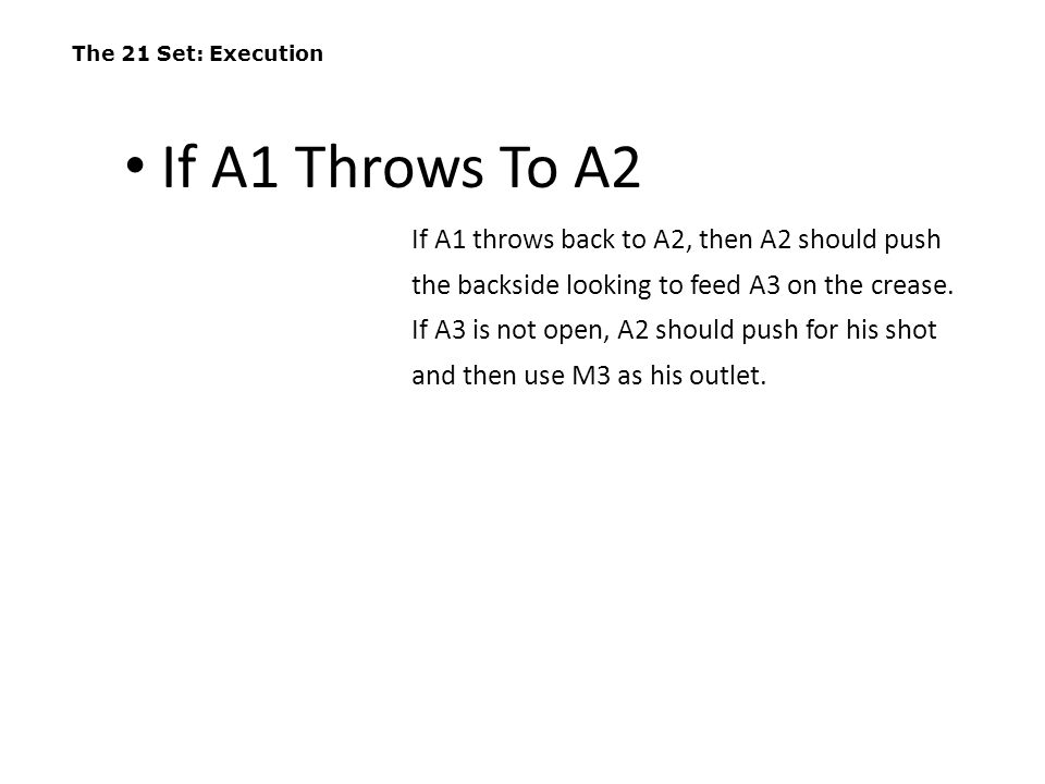 The 21 Set: Execution If A1 Throws To A2.