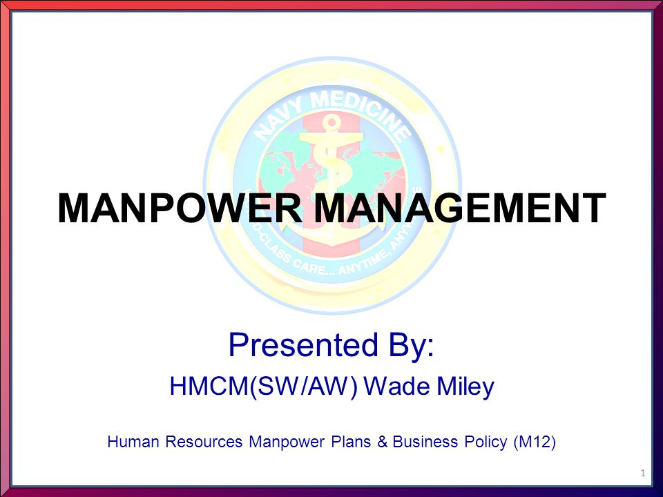 MANPOWER MANAGEMENT Presented By: HMCM(SW/AW) Wade Miley