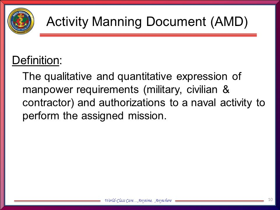 Activity Manning Document (AMD)