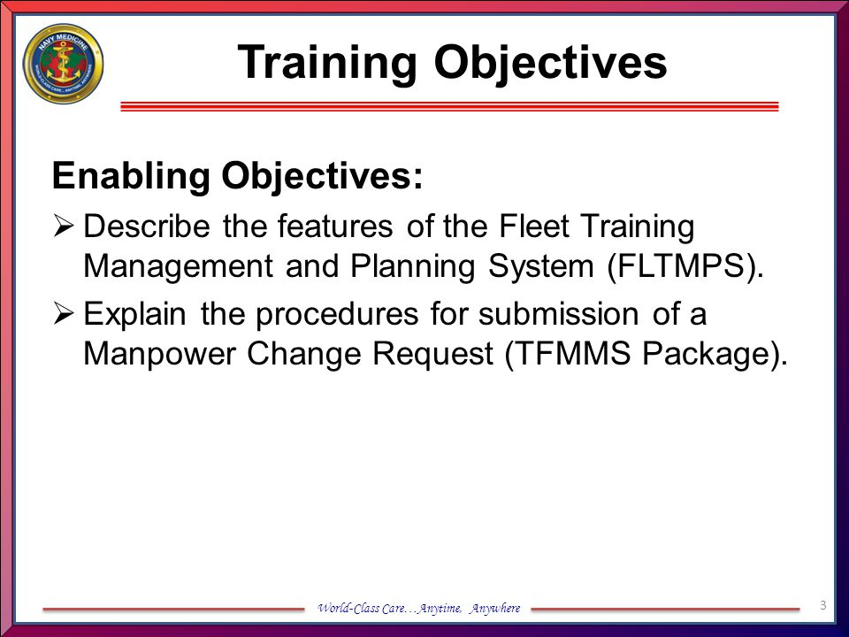 Training Objectives Enabling Objectives: