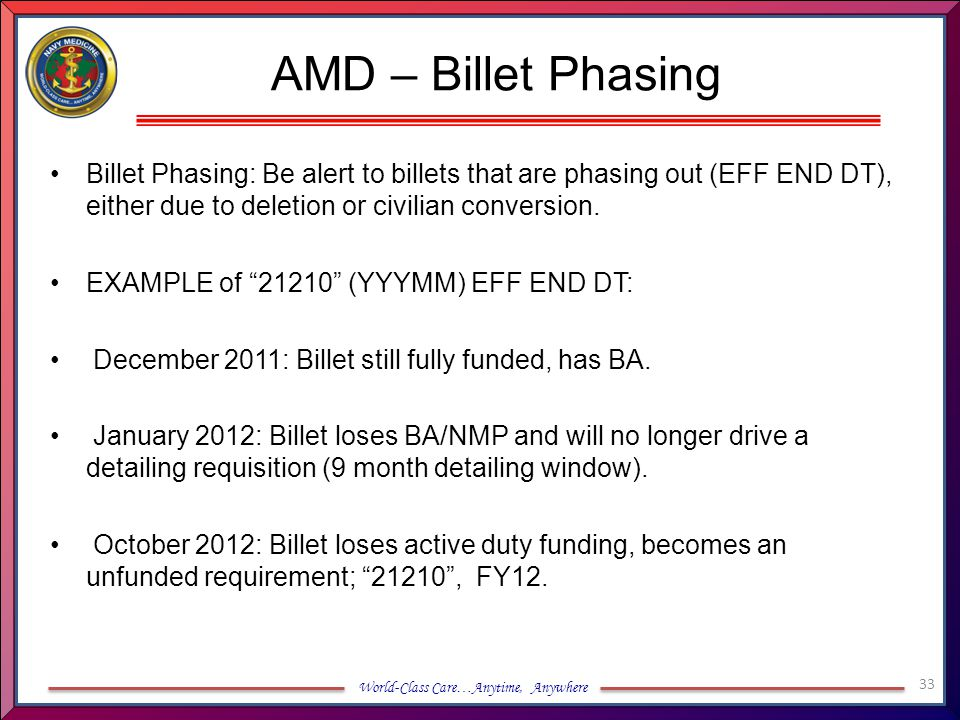 AMD – Billet Phasing Billet Phasing: Be alert to billets that are phasing out (EFF END DT), either due to deletion or civilian conversion.