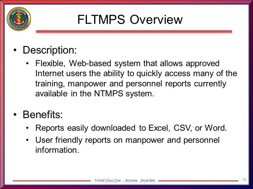 FLTMPS Overview Description: Benefits: