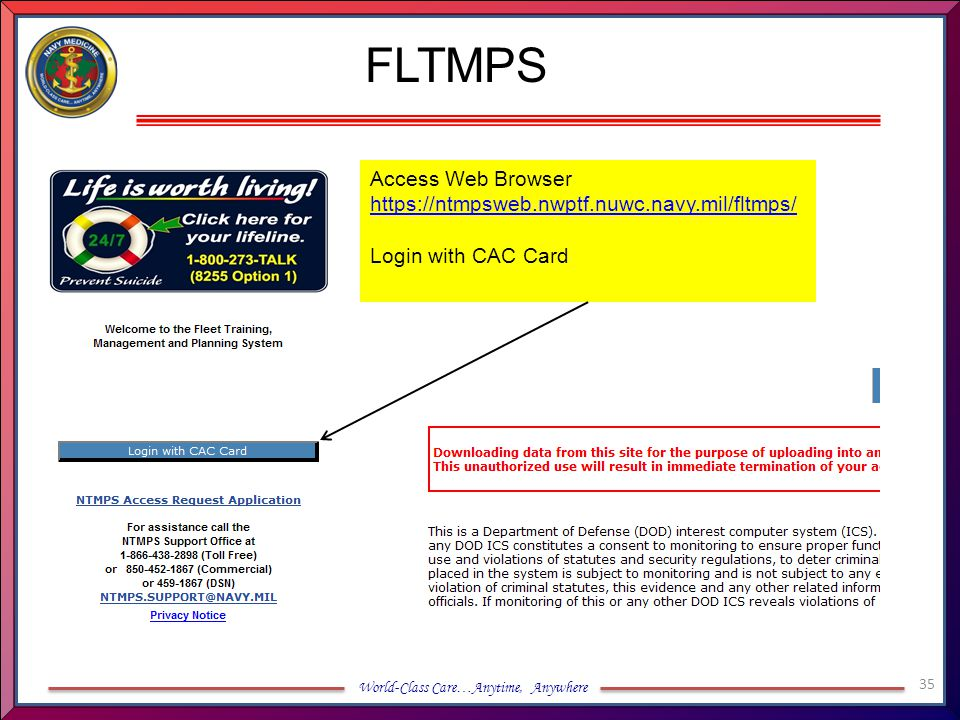 FLTMPS Access Web Browser https://ntmpsweb.nwptf.nuwc.navy.mil/fltmps/