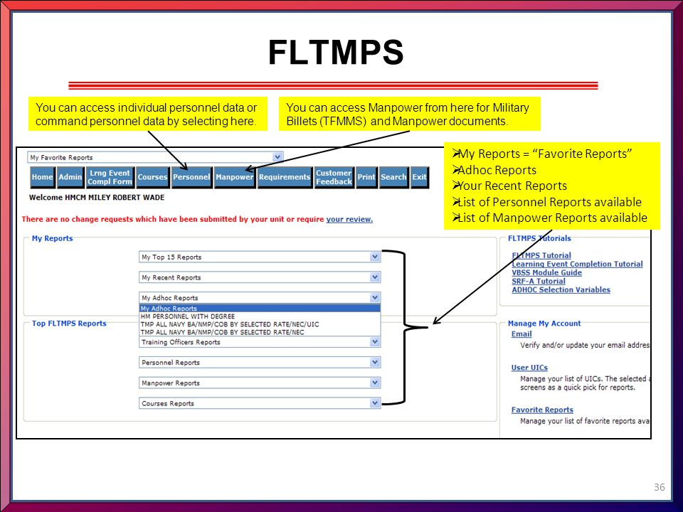 FLTMPS My Reports = Favorite Reports Adhoc Reports