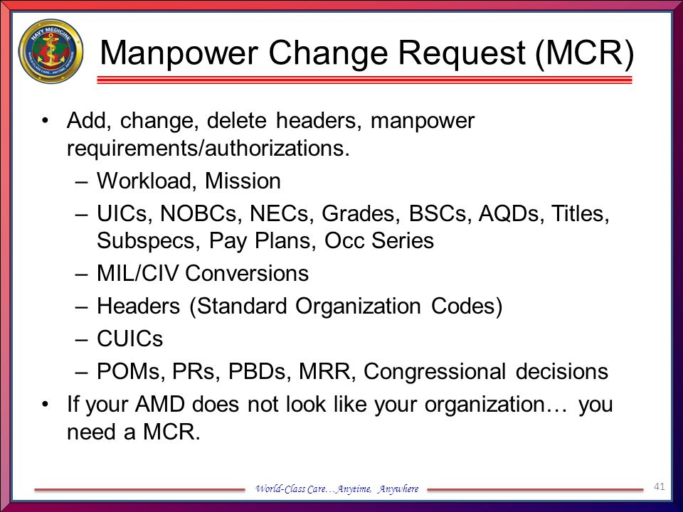 Manpower Change Request (MCR)