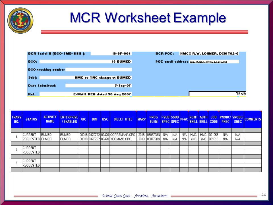 MCR Worksheet Example
