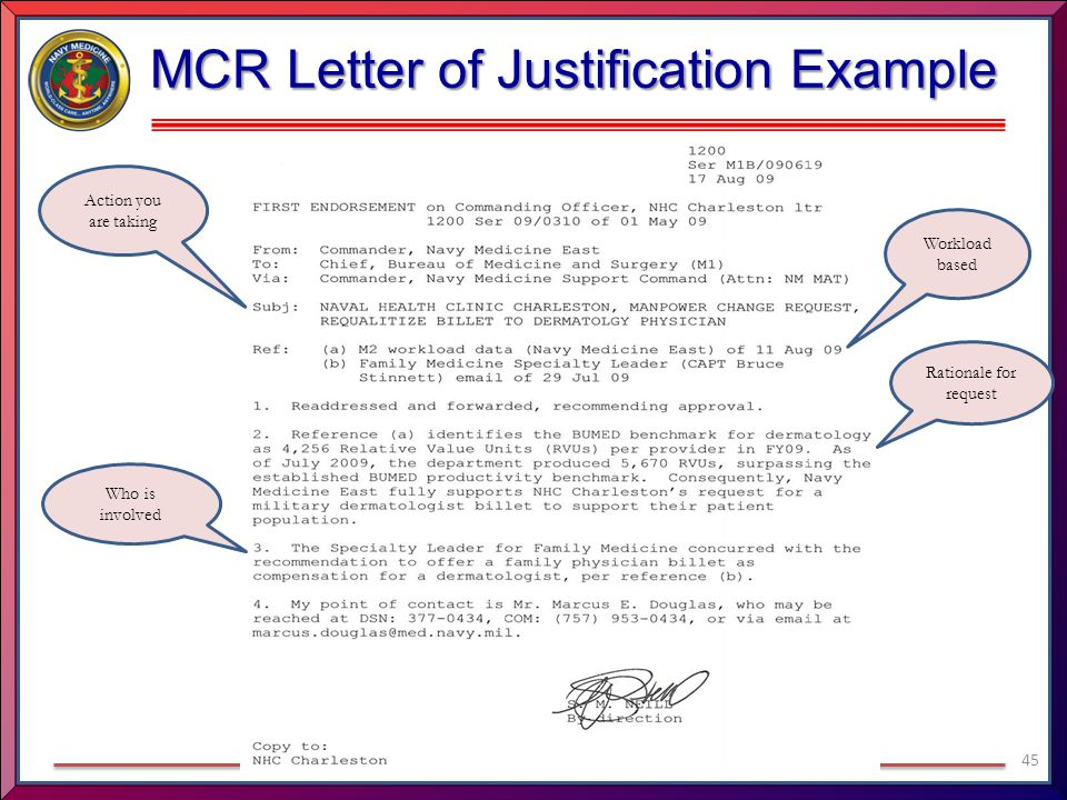 MCR Letter of Justification Example