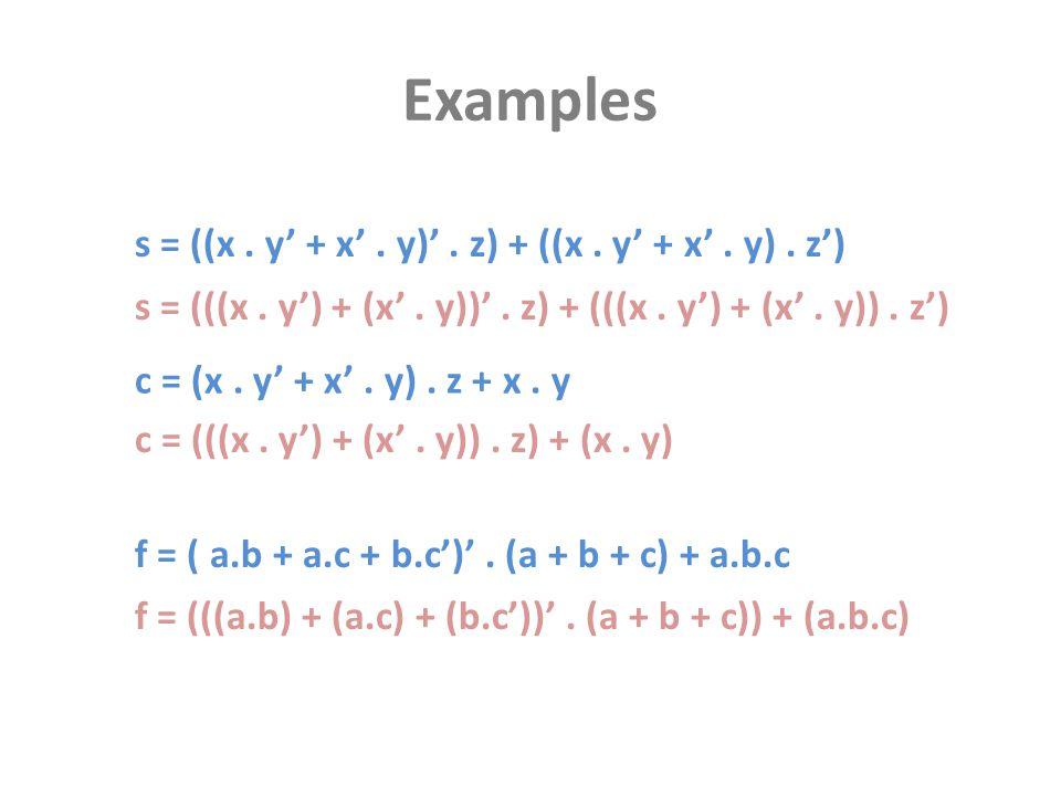 Examples s = ((x . y' + x' . y)' . z) + ((x . y' + x' . y) . z')
