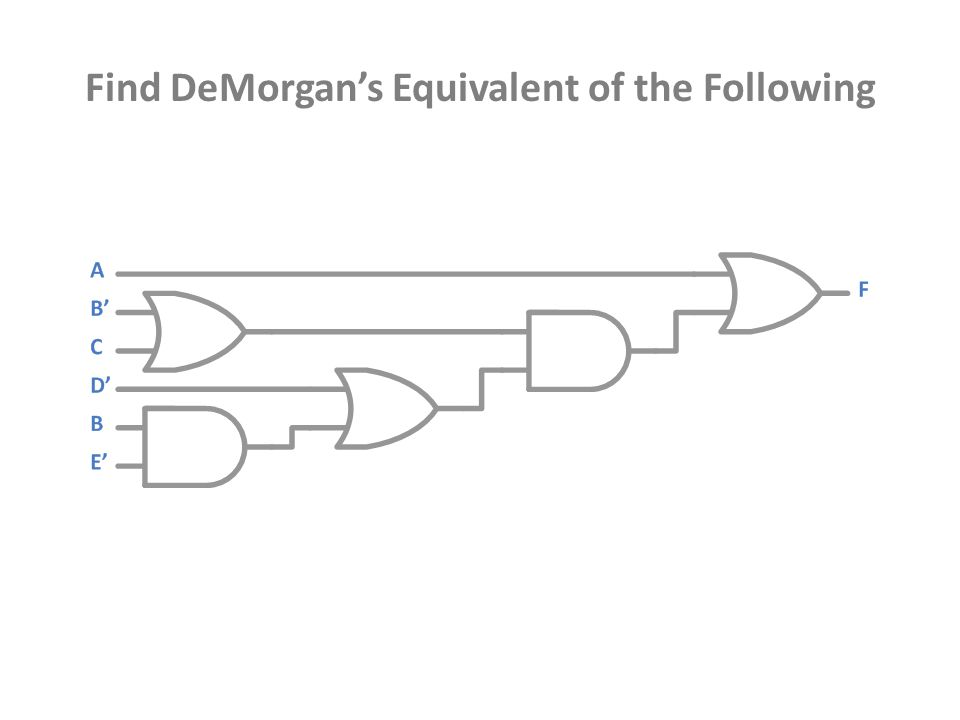 Find DeMorgan's Equivalent of the Following