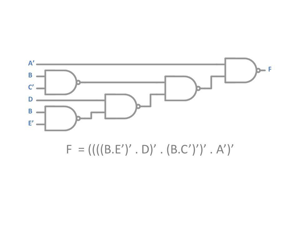 F = ((((B.E')' . D)' . (B.C')')' . A')'
