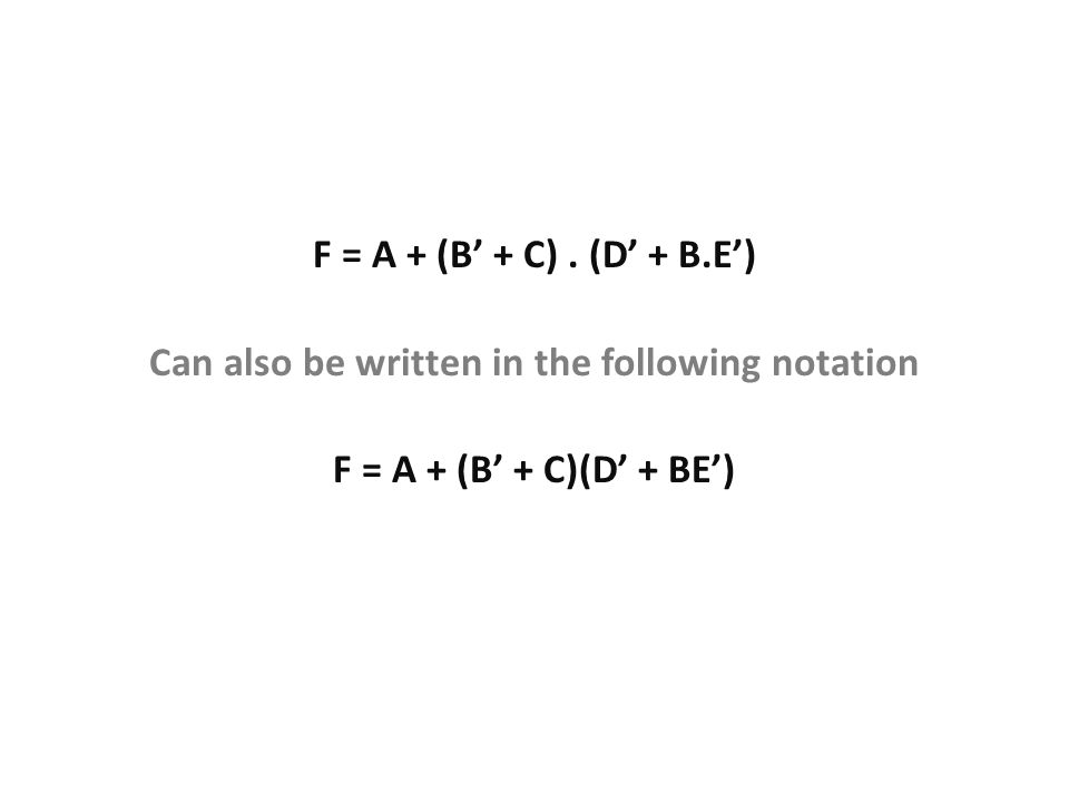 Can also be written in the following notation
