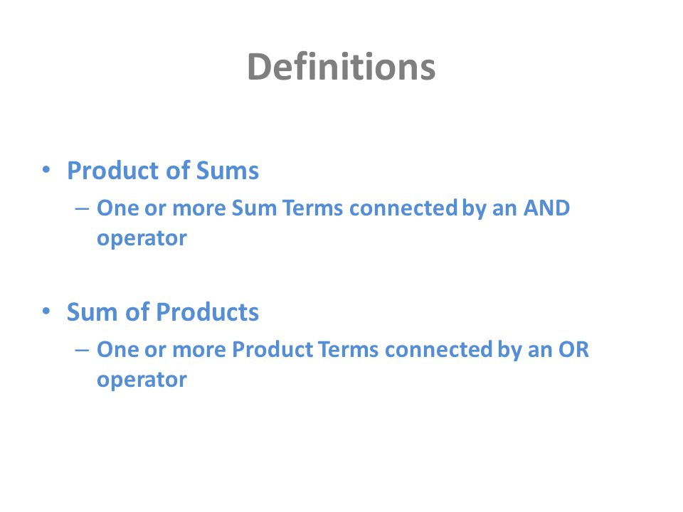 Definitions Product of Sums Sum of Products