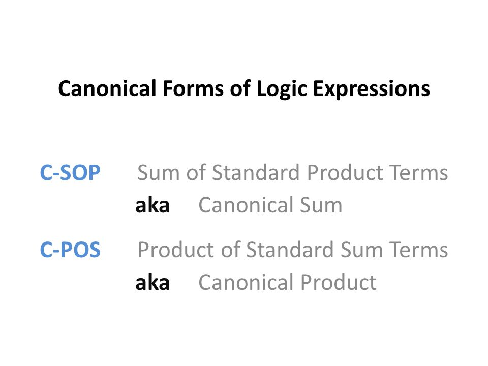 Canonical Forms of Logic Expressions