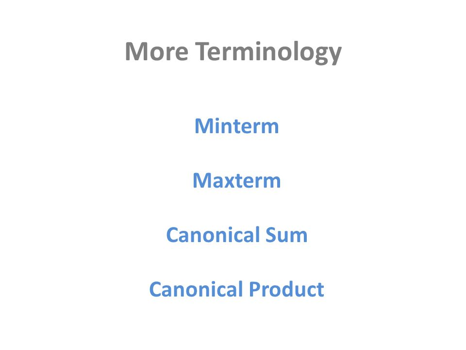 More Terminology Minterm Maxterm Canonical Sum Canonical Product